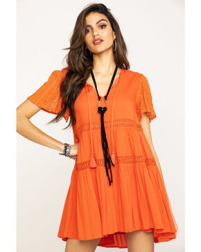 Miss Me Women's Coral Tiered Dress, Coral, hi-res