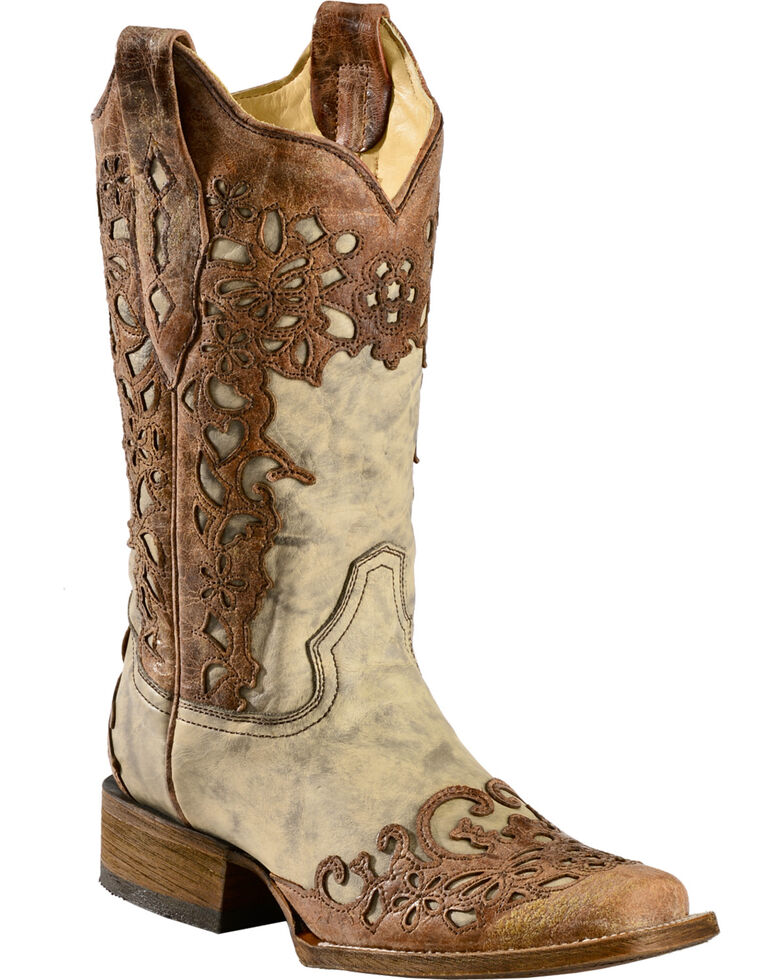 Corral Floral Laser Cutout Cowgirl Boots - Square Toe, Sand, hi-res