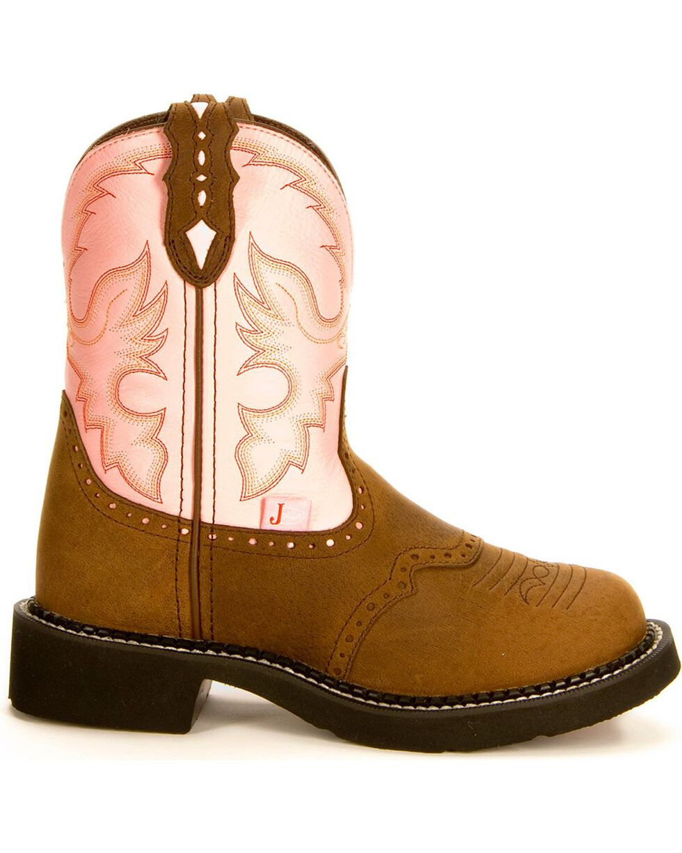 Justin Gypsy Women's Gemma Pink Cowgirl Boots - Round Toe, Bay Apache, hi-res