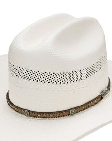 Stetson Natural 10X Woodburn Western Shantung Straw Hat , Natural, hi-res