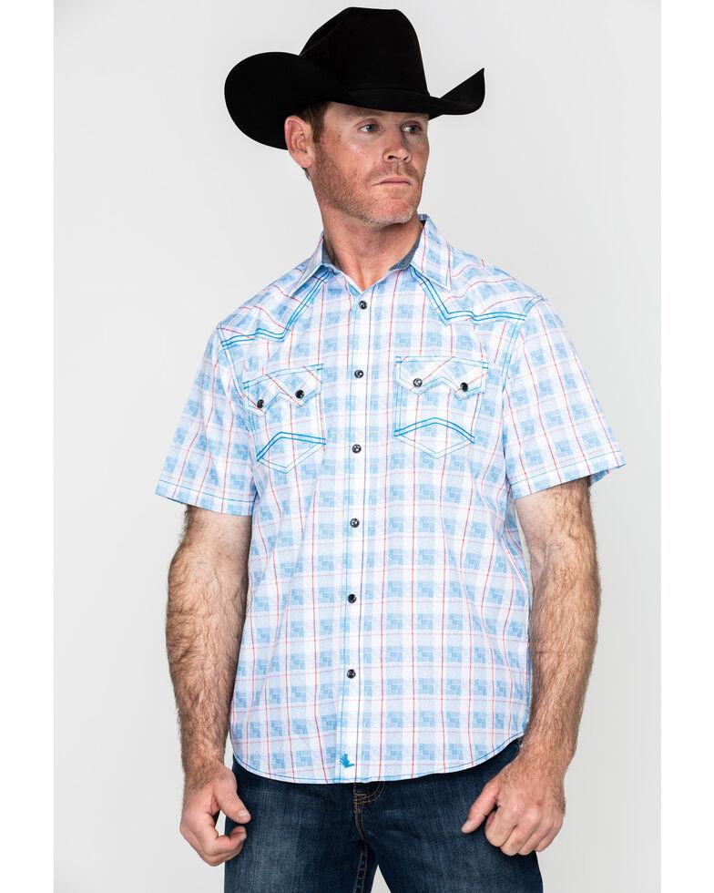 Cody James Men's Crooks Cross Plaid Short Sleeve Western Shirt - Big , Turquoise, hi-res