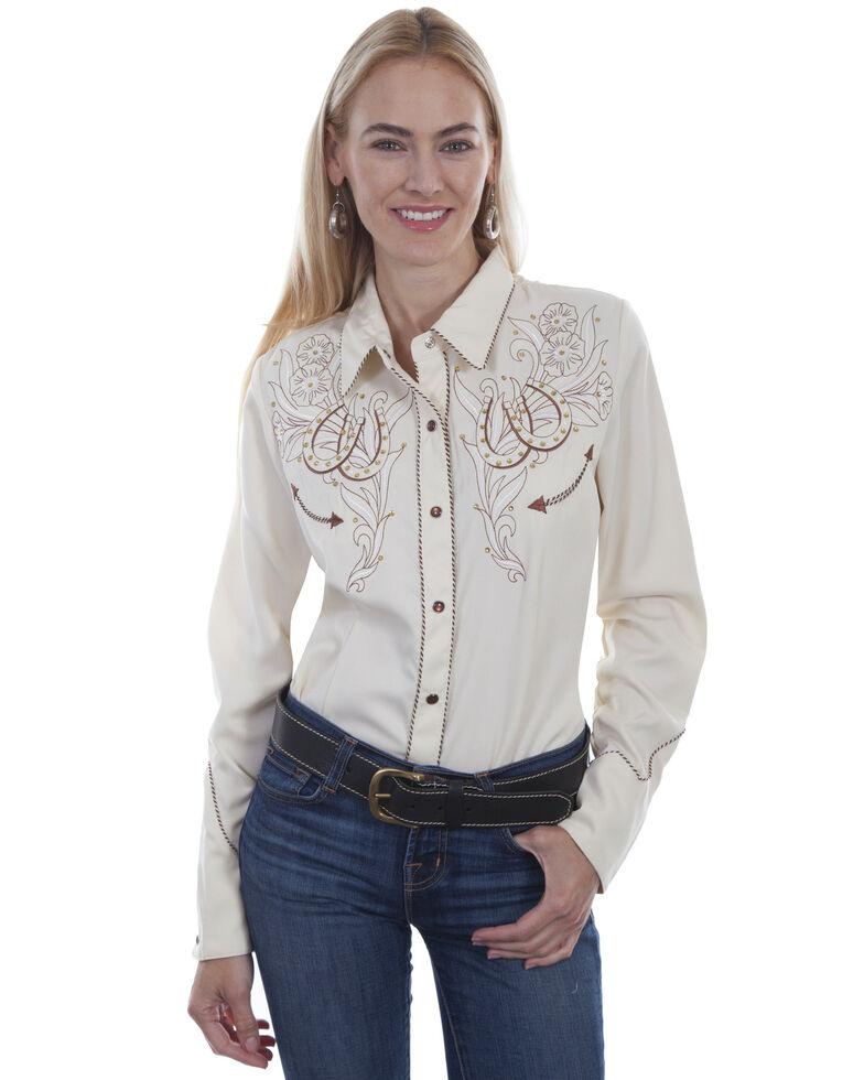 Western Scully Women's Cream Horseshoe Long Sleeve Western Shirt, Cream, hi-res