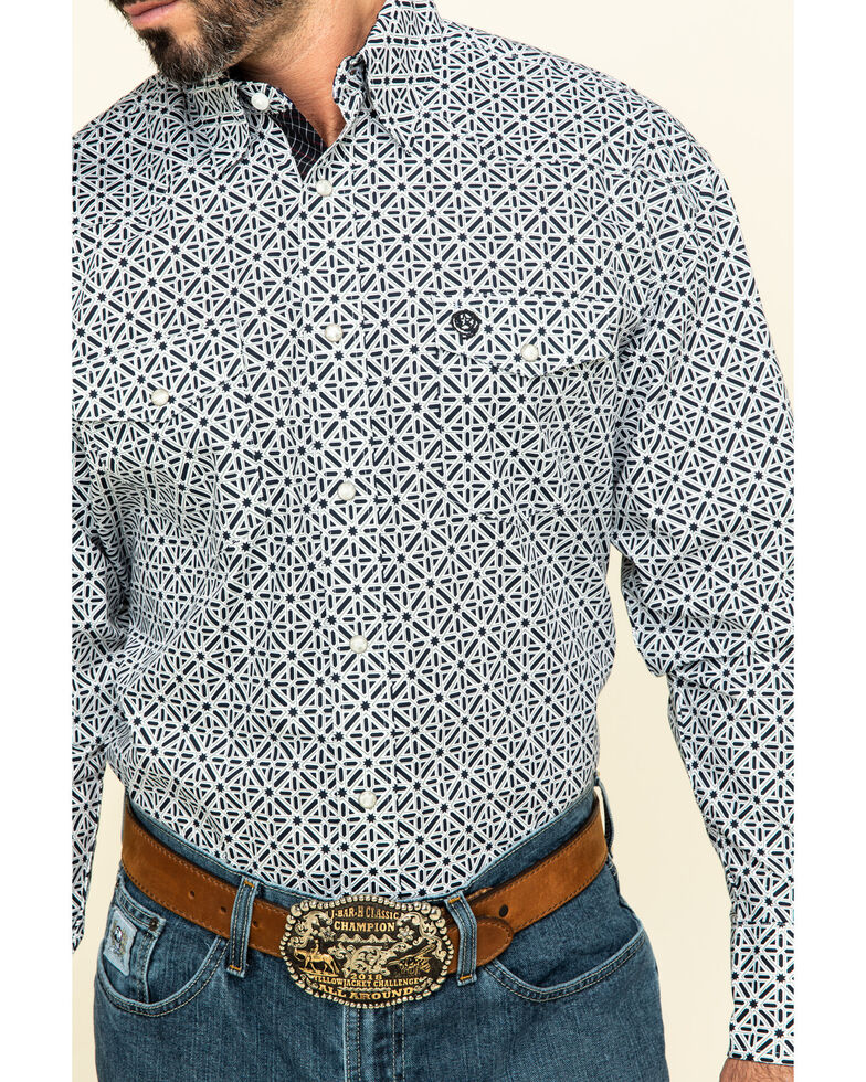 George Strait by Wrangler Troubadour Black Geo Print Long Sleeve Western Shirt , Black, hi-res