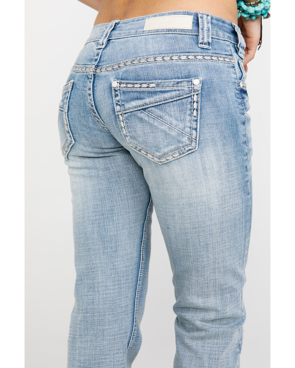 Rock & Roll Cowgirl Women's Basic Pocket Riding Boot Jeans , Blue, hi-res