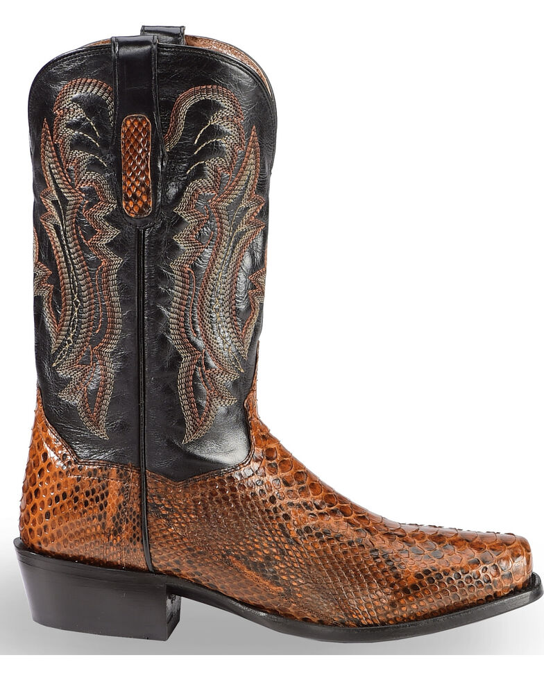 Dan Post Men's Cognac Back Cut Python Cowboy Boots - Square Toe, Cognac, hi-res