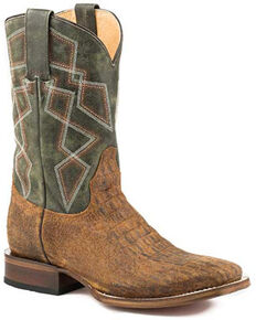 Roper Men's Jameson Western Boots - Square Toe, Tan, hi-res
