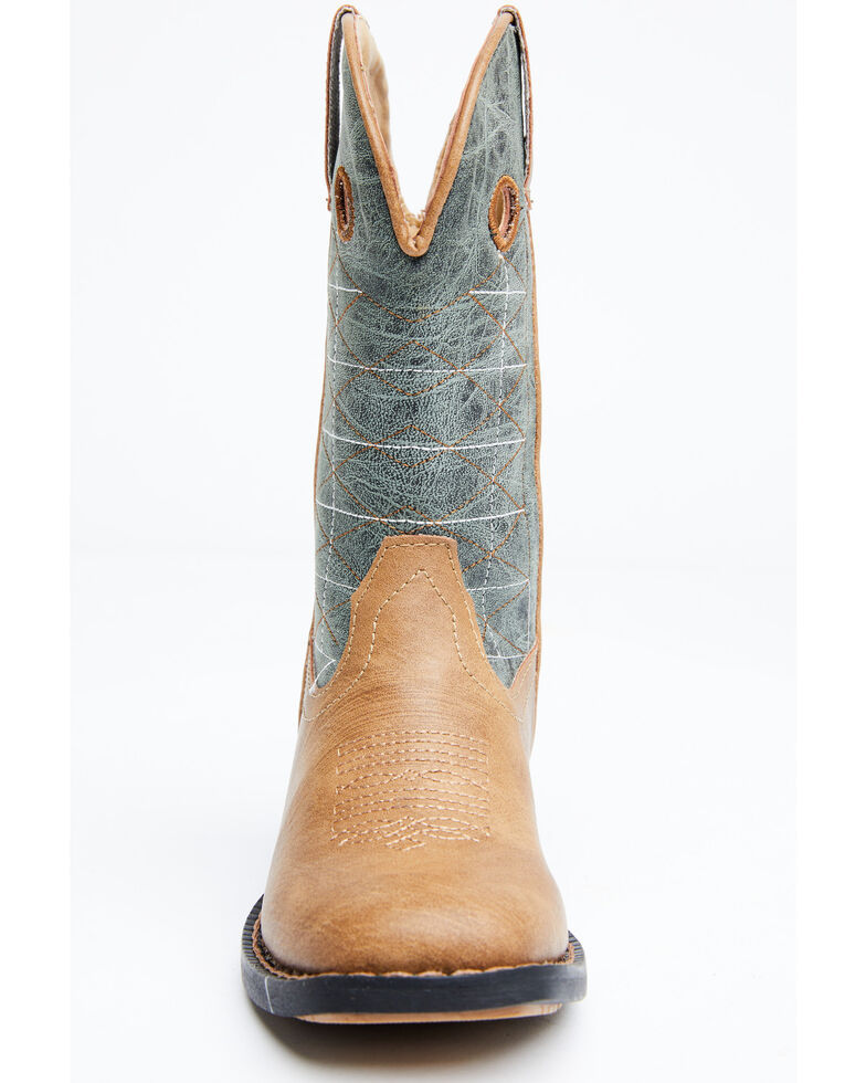 Roper Boys' Wild Bill Western Boots - Wide Square Toe, Brown/blue, hi-res