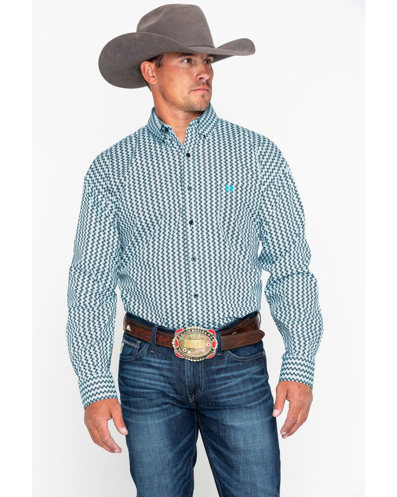 Panhandle Men's Peached Geo Print Long Sleeve Western Shirt , Navy, hi-res