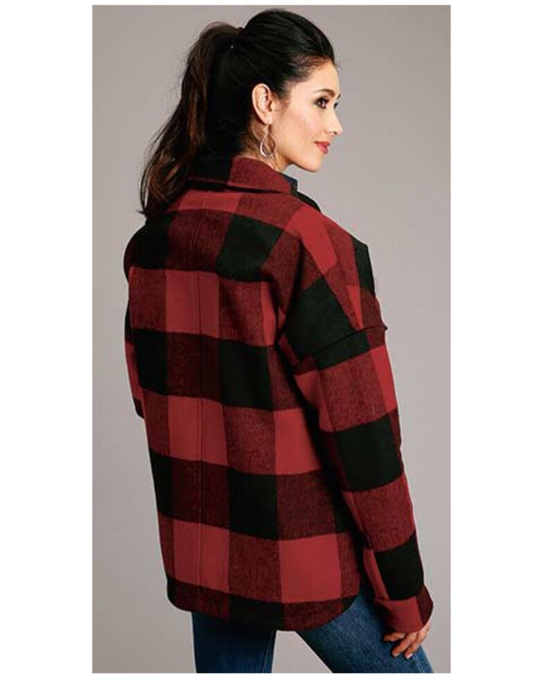 Stetson Women's Buffalo Plaid Sherpa Lined Shirt Jacket, Red, hi-res