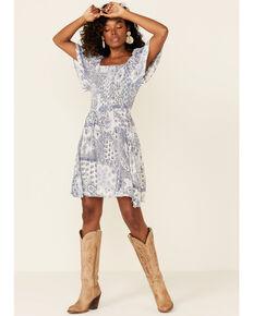 Angie Women's Paisley Smocked Peasant Dress, Blue, hi-res