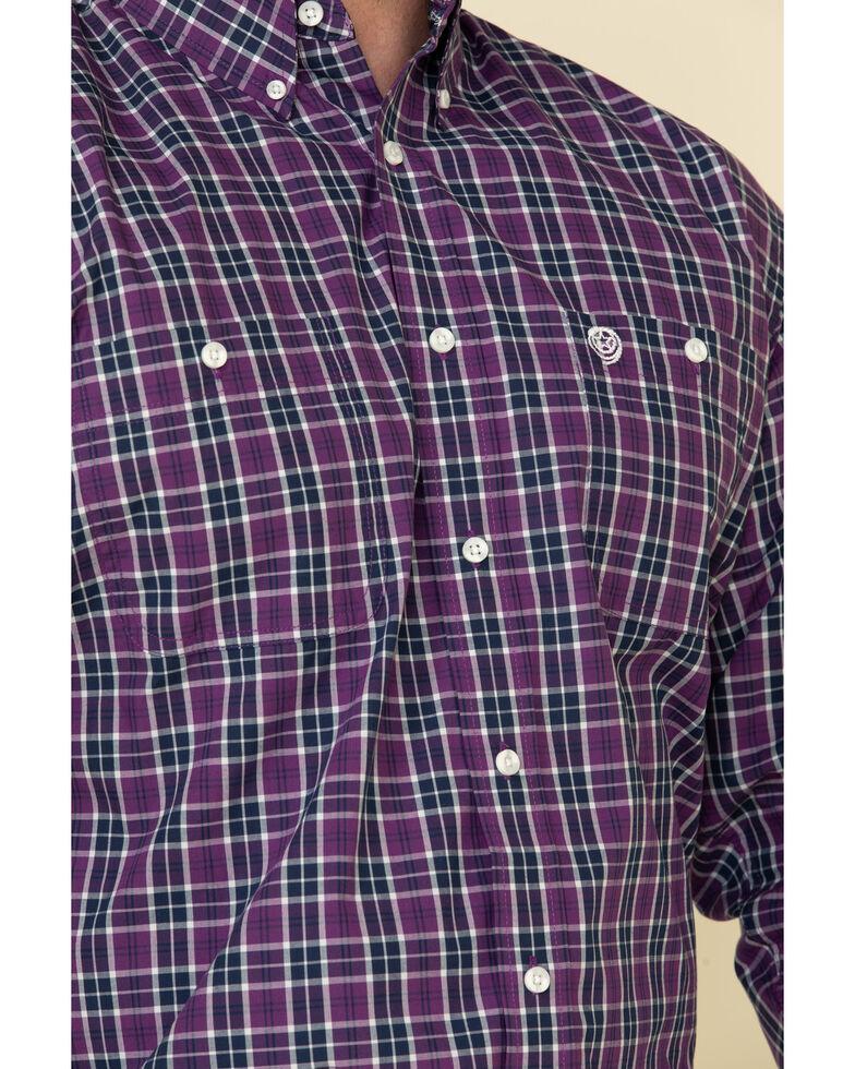 George Strait By Wrangler Men's Purple Plaid Long Sleeve Western Shirt - Big , Purple, hi-res