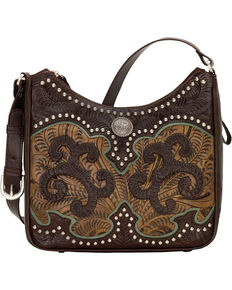 American West Women's Hand Tooled Concealed Carry Shoulder Bag, Chocolate, hi-res