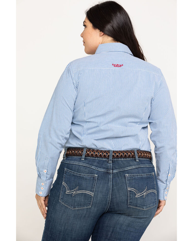Ariat Women's Kirby Classic Blue Stripe Stretch Shirt - Plus, Multi, hi-res