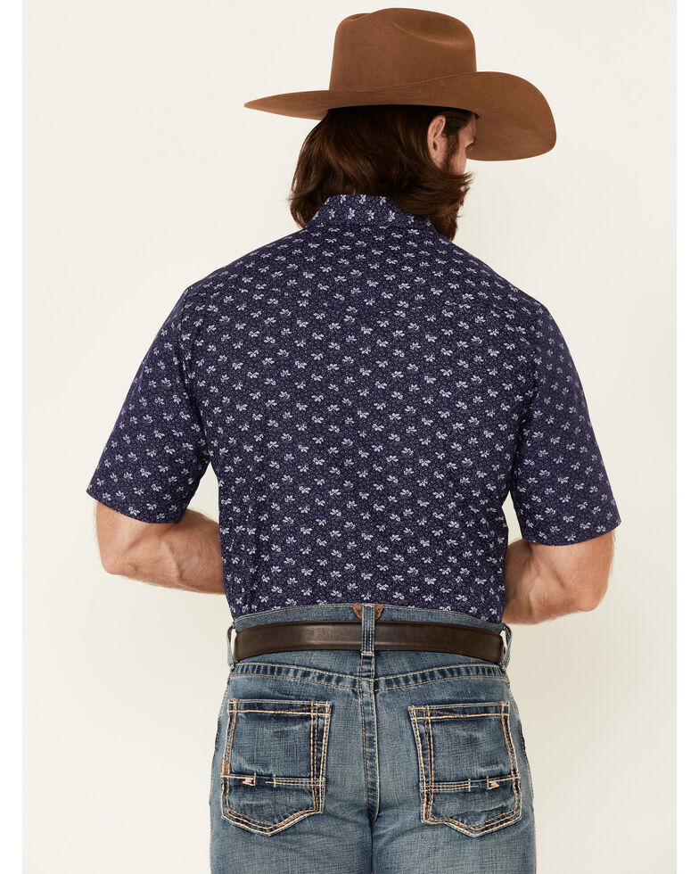 Roper Men's Blue Floral Print Short Sleeve Snap Western Shirt , Navy, hi-res