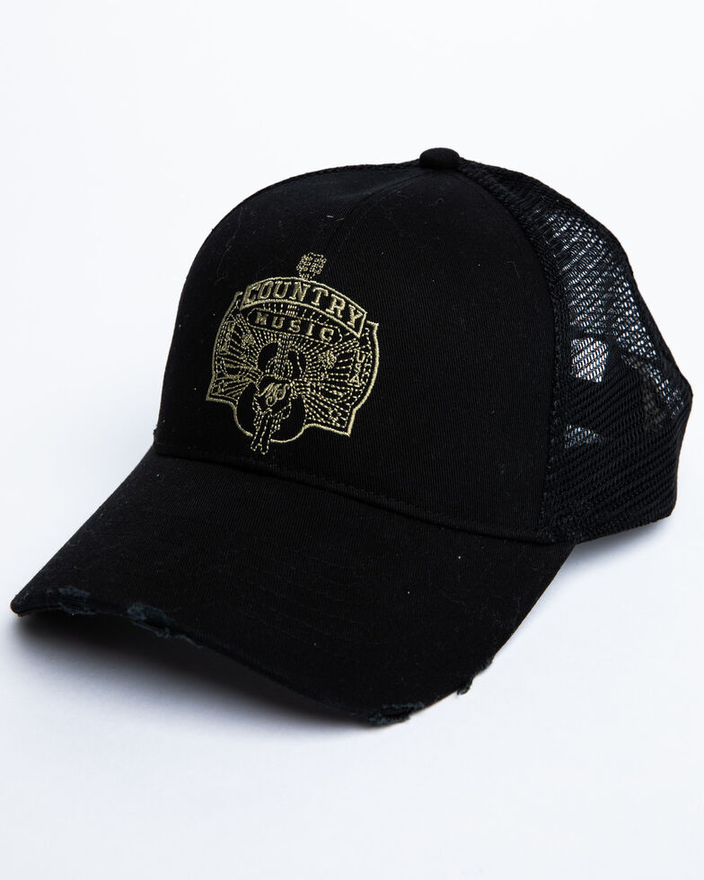Moonshine Spirit Men's Country Music Guitar Embroidered Ball Cap, Black, hi-res