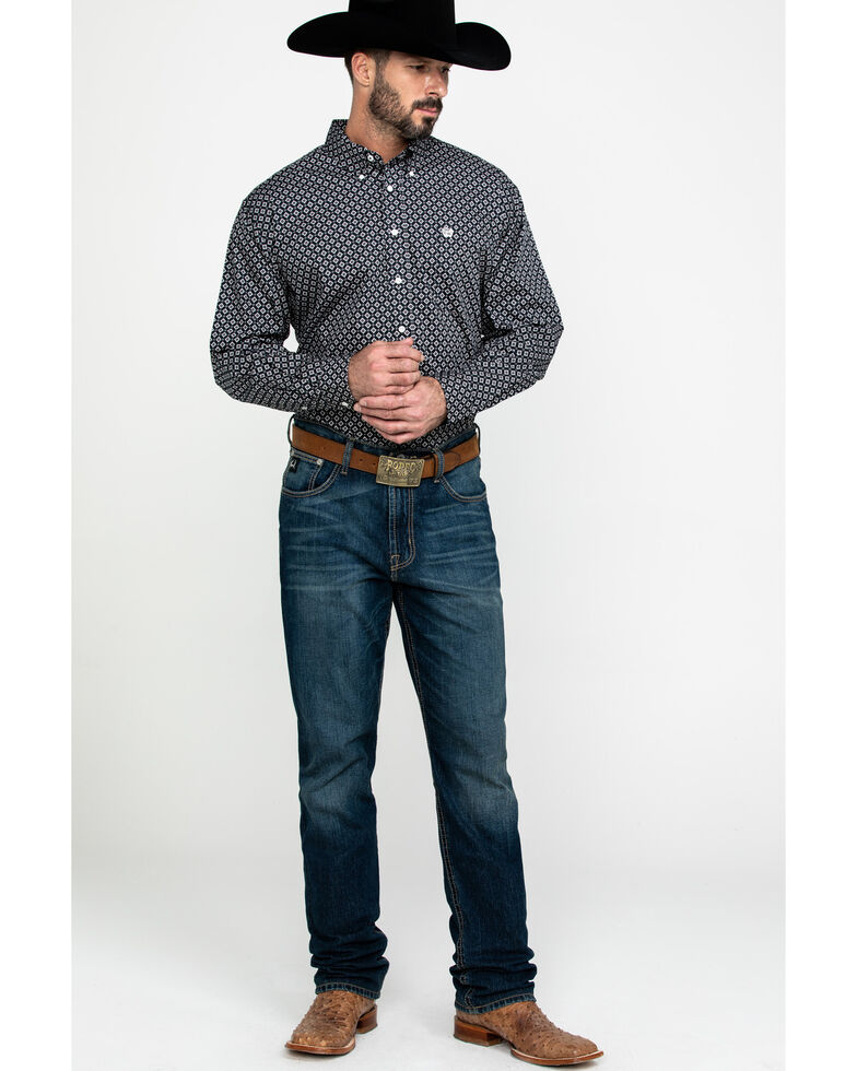 Cinch Men's Black Diamond Geo Print Long Sleeve Western Shirt , Black, hi-res