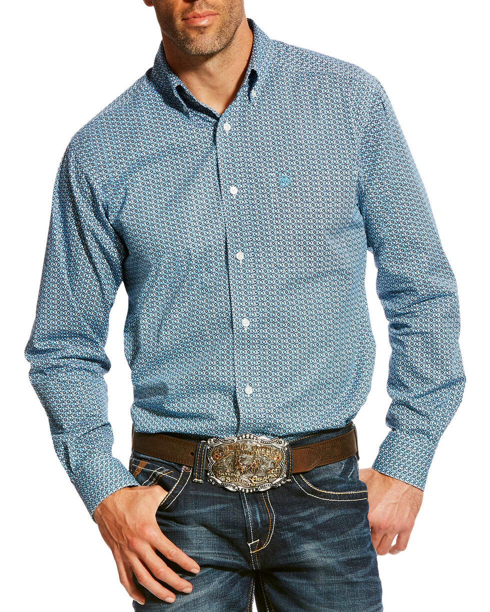 Ariat Men's Blue Adderson Stretch Print Shirt , Multi, hi-res