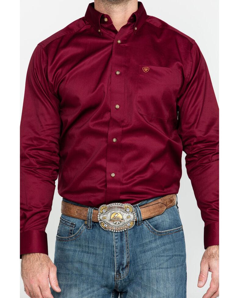 Ariat Men's Burgundy Solid Twill Long Sleeve Western Shirt, Burgundy, hi-res
