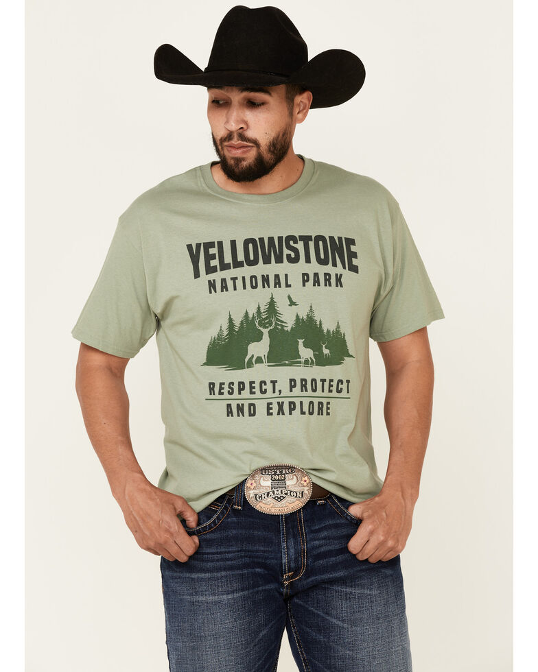 National Park Foundation Men's Yellowstone Forest Scene Graphic Short Sleeve T-Shirt , Green, hi-res