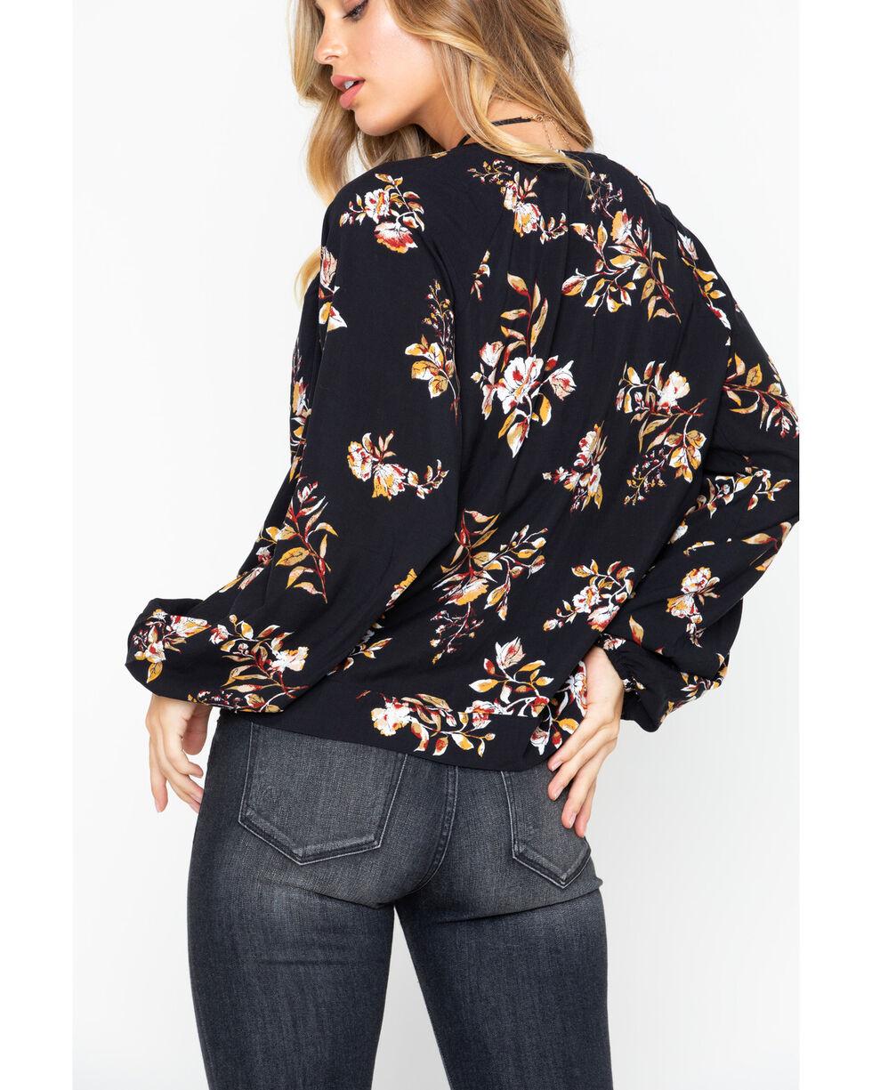 Eyeshadow Women's Floral Open Front Bottom Tie Top , Black, hi-res