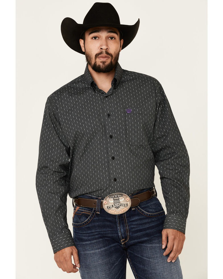 Cinch Men's Black Small Geo Print Long Sleeve Western Shirt , Black, hi-res