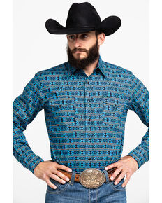 Roper Men's West Made Hex Aztec Print Long Sleeve Western Shirt , Blue, hi-res