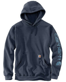 Carhartt Men's Midweight Signature Logo Hooded Work Sweatshirt - Big , Blue, hi-res