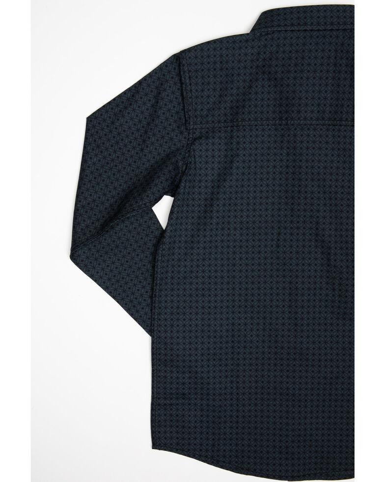 Cody James Boys' Spiral Floral Geo Print Long Sleeve Western Shirt , Navy, hi-res