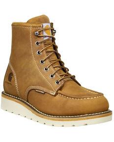 Carhartt Women's Brown Wedge Sole Waterproof Work Boots - Steel Toe, Light Brown, hi-res
