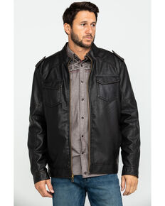 Cody James Men's Backwoods Distressed Faux Leather Moto Jacket , Brown, hi-res