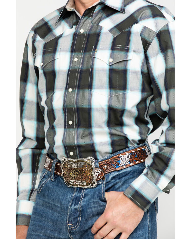 Stetson Men's Gray Large Plaid Long Sleeve Western Shirt , Grey, hi-res