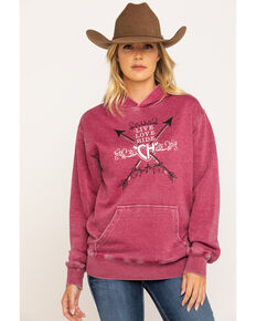 Cowgirl Hardware Women's Live Love Ride Graphic Hoodie, Burgundy, hi-res