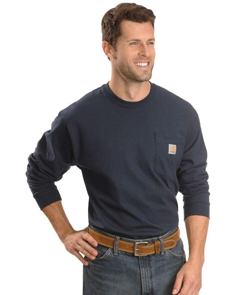 Carhartt Men's Solid Pocket Long Sleeve Work T-Shirt , Navy, hi-res