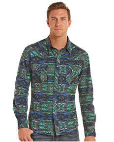 Rock & Roll Denim Men's Crinkle Washed Aztec Long Sleeve Snap Shirt, Teal, hi-res
