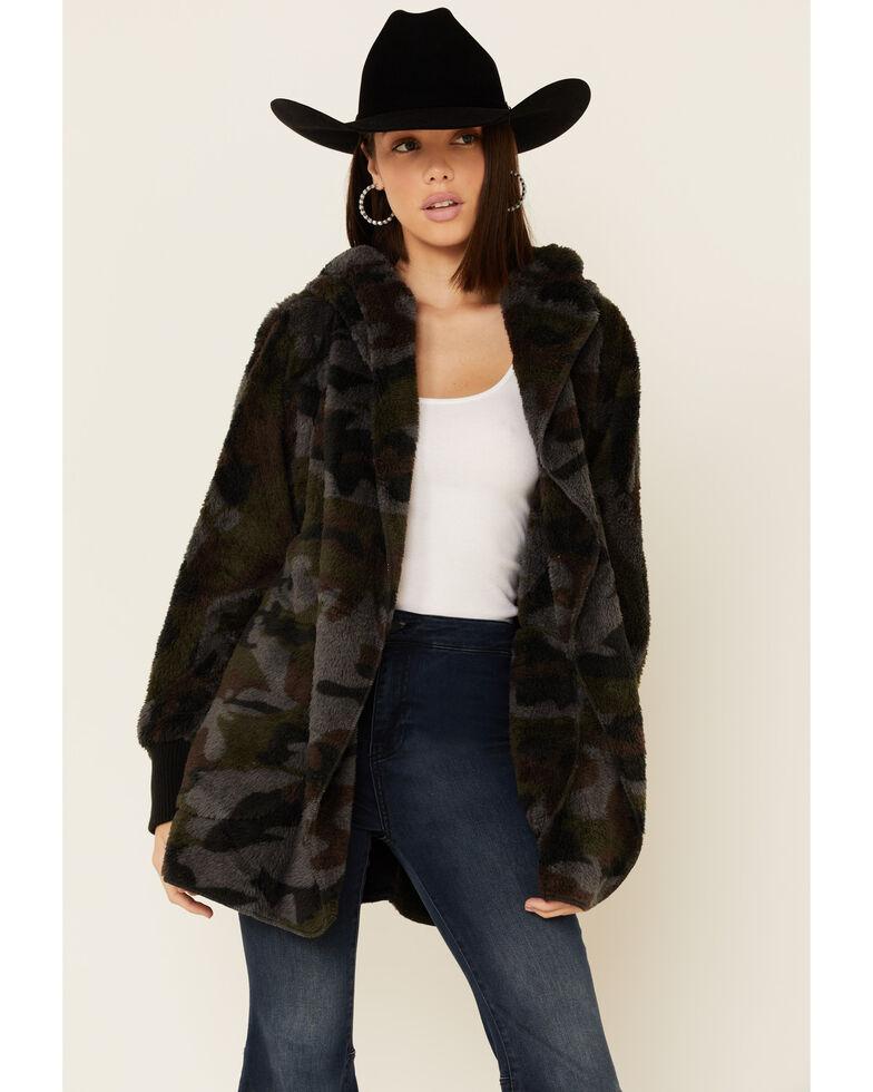 Hem & Thread Women's Multi Camo Print Sherpa Lined Hooded Jacket , Multi, hi-res
