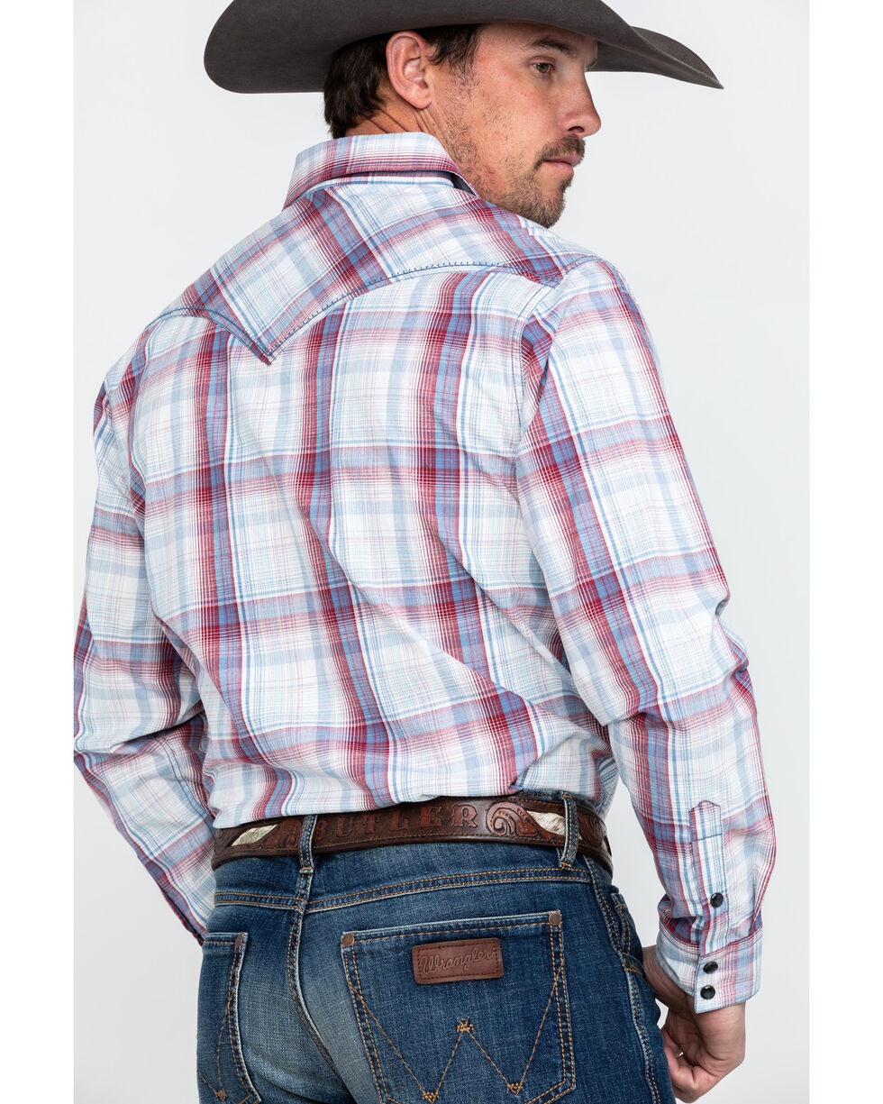 Cody James Men's Nugget Large Plaid Long Sleeve Western Shirt , Red, hi-res