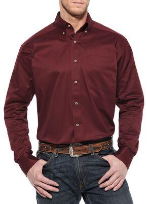 Ariat Burgundy Twill Cowboy Shirt - Big & Tall, Burgundy, hi-res