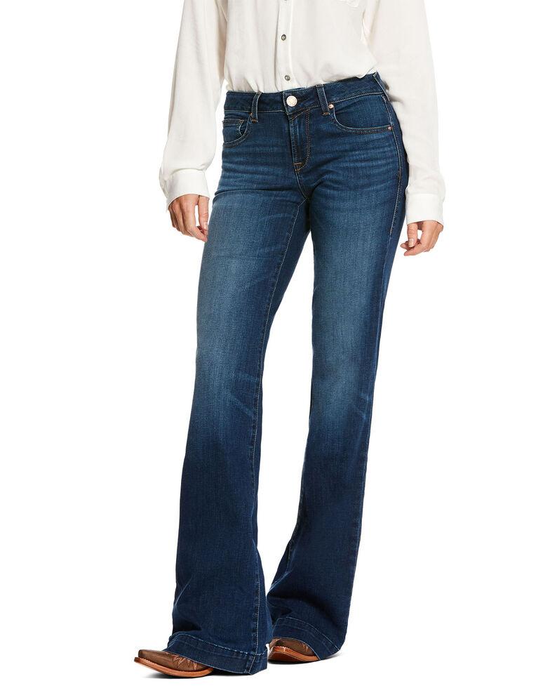 Ariat Women's Kelsea Trouser Stretch Wide Leg Jeans, Blue, hi-res