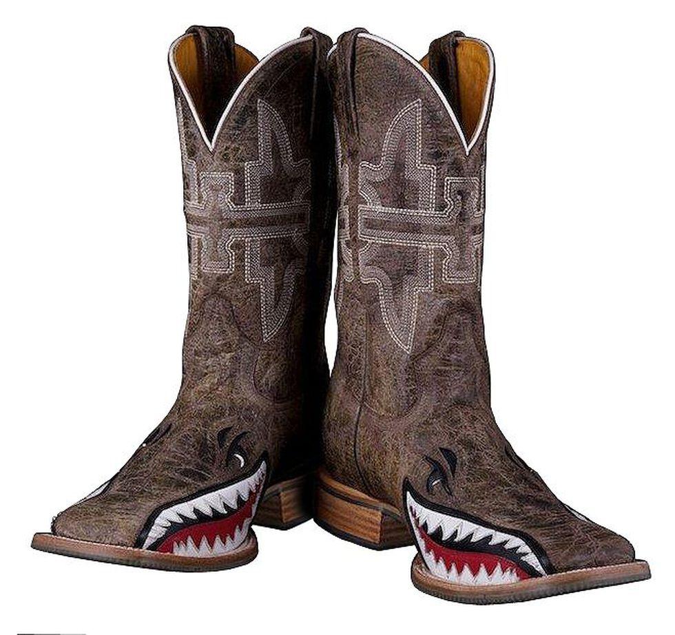 Tin Haul Gnarly Bite Cowboy Boots - Square Toe, Brn Bomber, hi-res