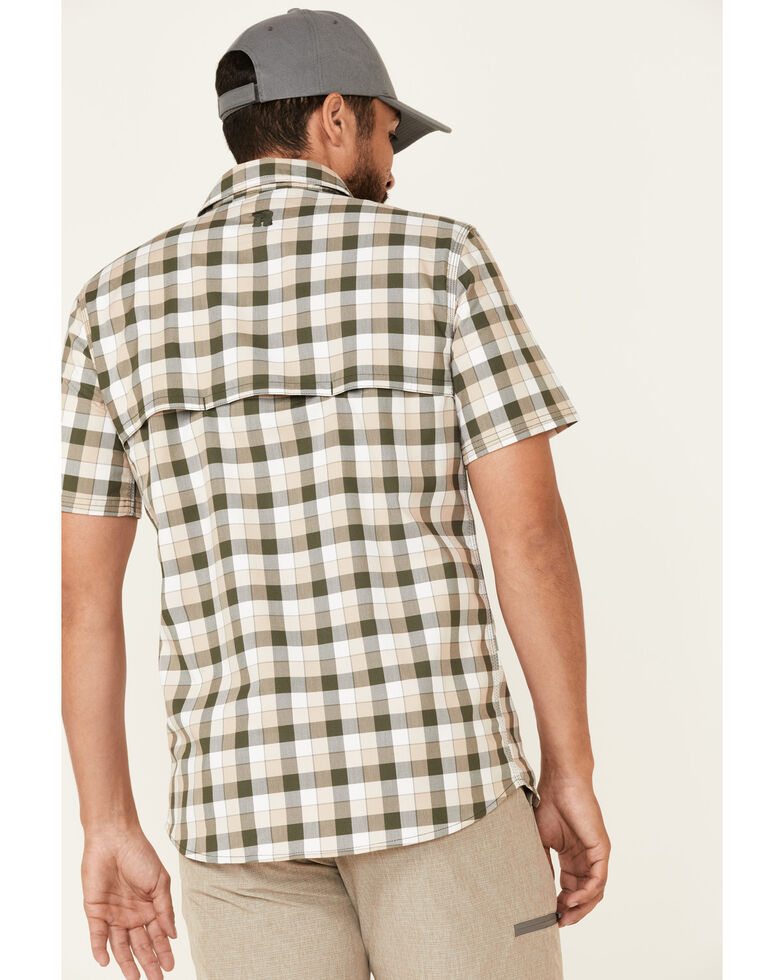 Wrangler Riggs Men's Olive Small Plaid Vented Short Sleeve Button-Down Work Shirt , Olive, hi-res