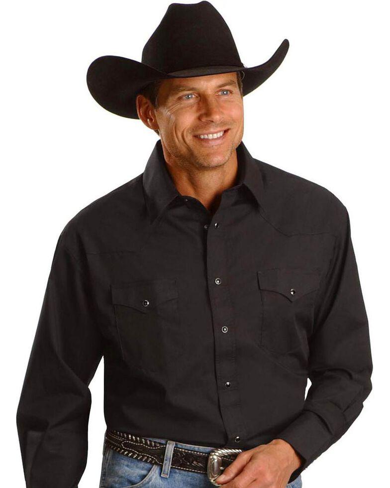 Wrangler Solid Cowboy Shirt, Black, hi-res
