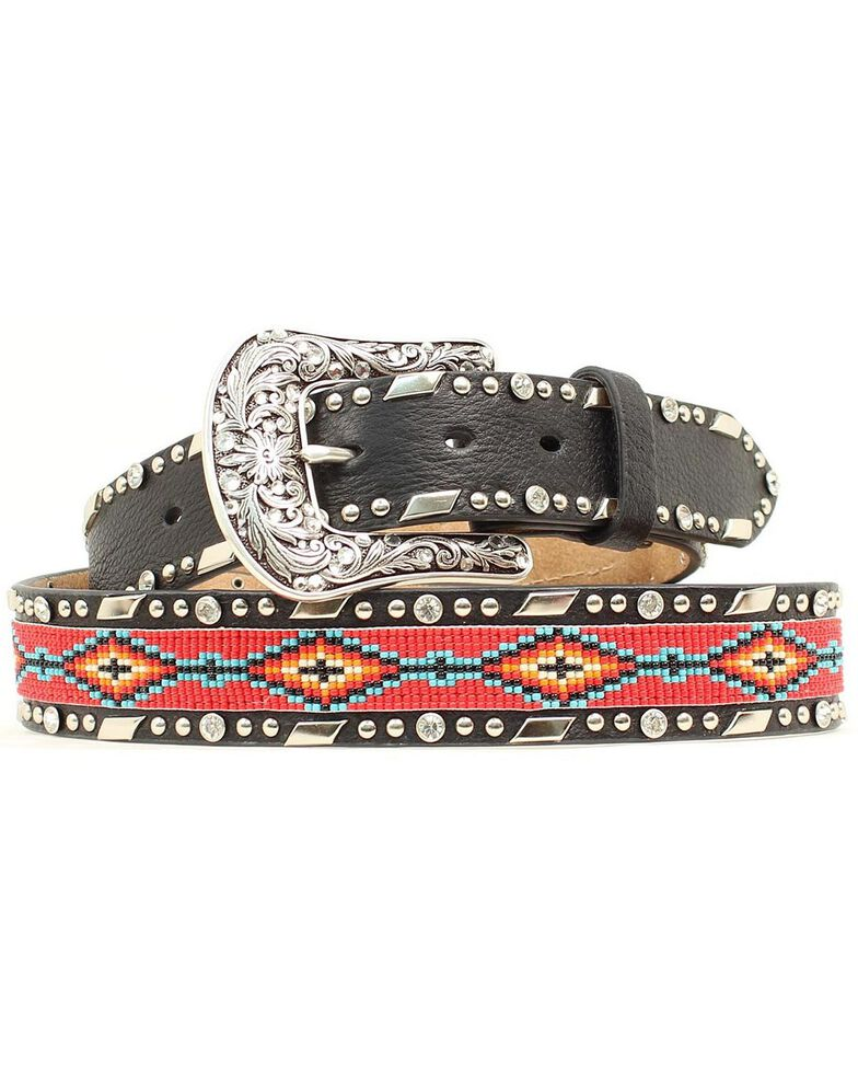 Ariat Beaded Ribbon Inlay Belt, Black, hi-res