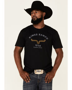 Kimes Ranch Men's Black Arch Logo Short Sleeve T-Shirt , Black, hi-res