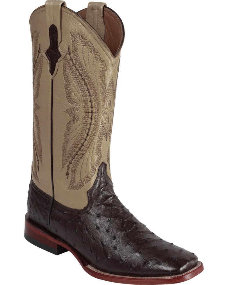 Ferrini Men's Cognac Full Quill Ostrich Cowboy Boots - Wide Square Toe, Chocolate, hi-res