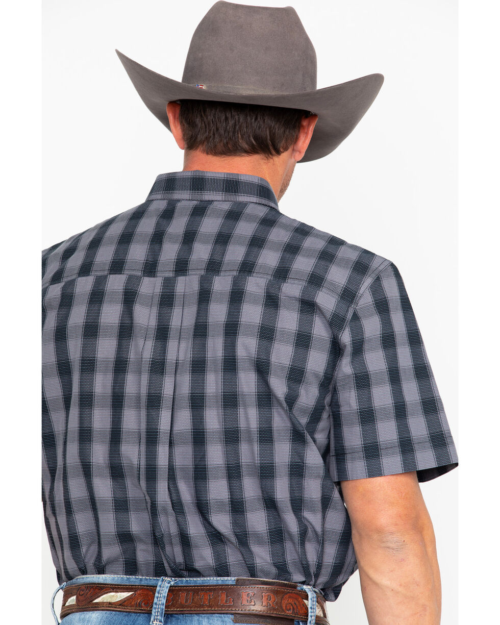 Cody Core Men's Checked Out Small Plaid Short Sleeve Western Shirt , Black, hi-res