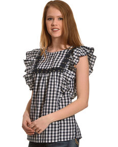 New Direction Sport Women's Black Plaid Gromets Top , Navy, hi-res