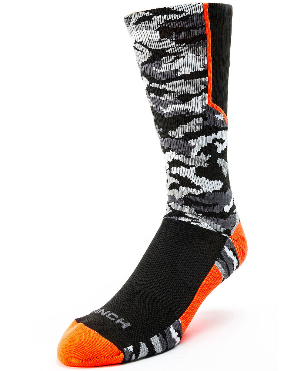 Cinch Men's Camo Crew Socks, Black/orange, hi-res