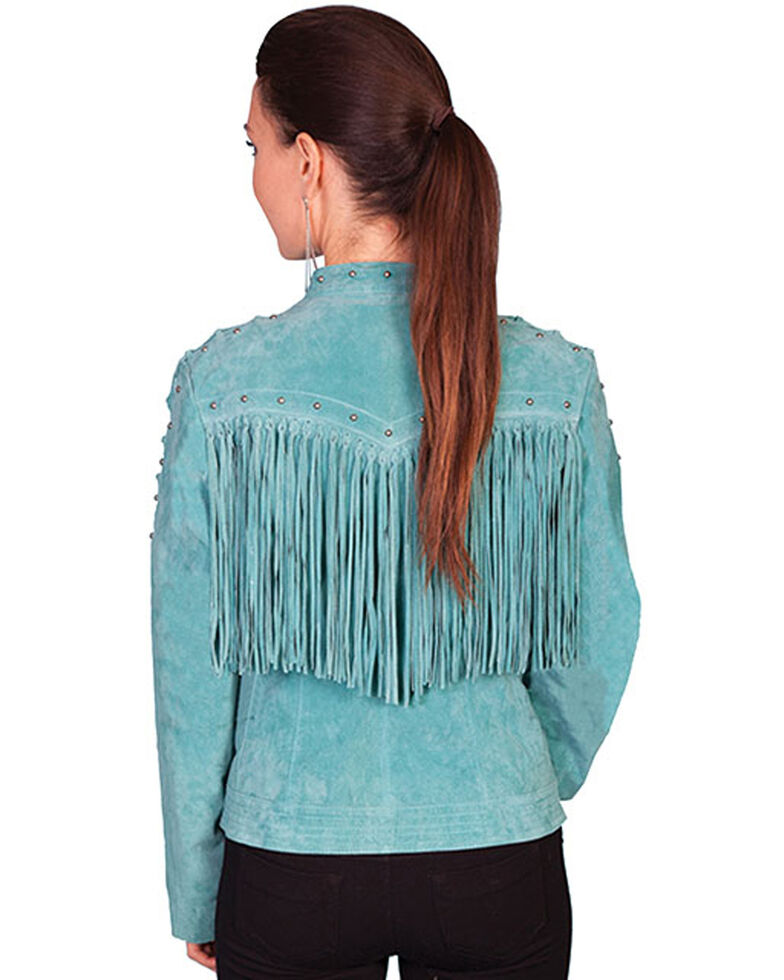 Scully Women's Lace Up Sleeve Leather Jacket, Turquoise, hi-res