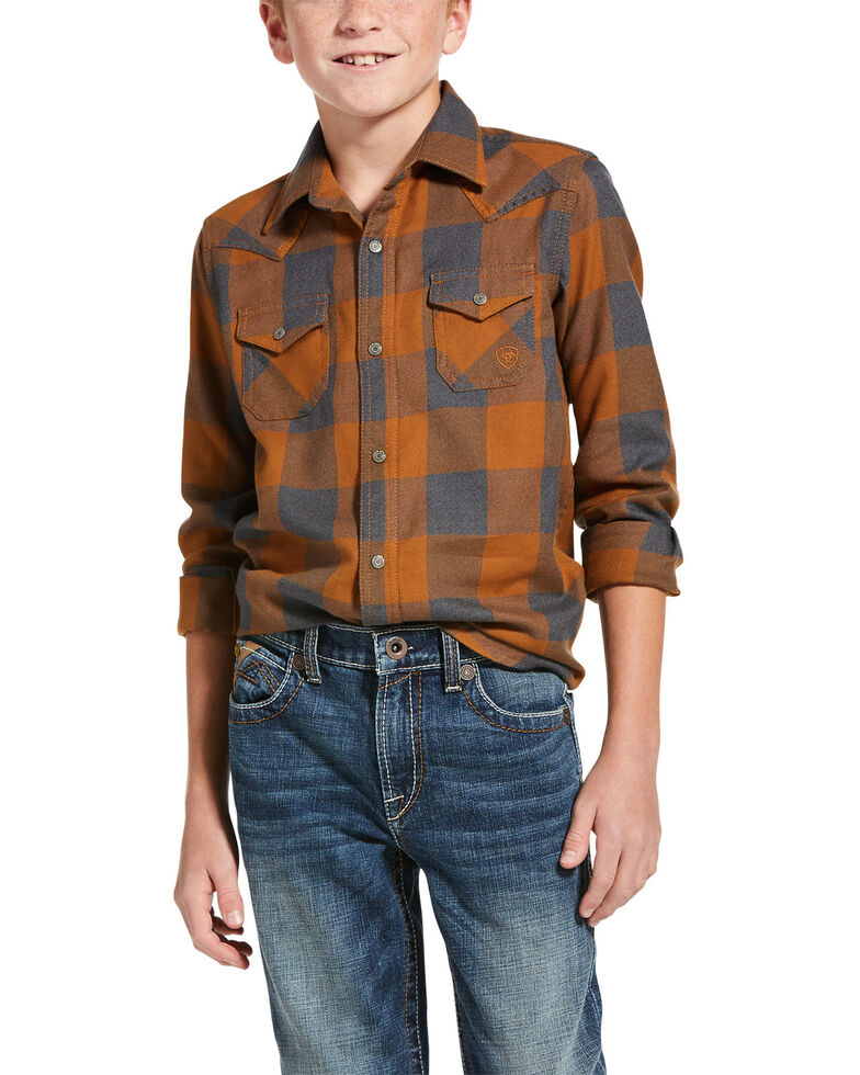 Ariat Boys' Hayward Retro Plaid Long Sleeve Western Shirt , Rust Copper, hi-res