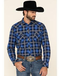 Rock & Roll Denim Men's Navy Windowpaine Plaid Long Sleeve Western Shirt , Navy, hi-res